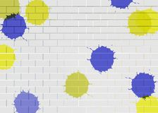 White brick wall pattern background with color brushing. vector illustration