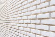 White brick on wall perspective background Royalty Free Stock Images