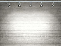White brick wall, reflector light Royalty Free Stock Photos