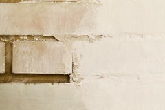 White brick wall during renovation. White brick wall during repair stucco texture design Stock Photography