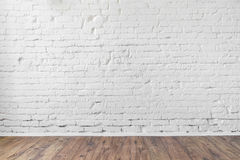 White brick wall texture background wooden floor