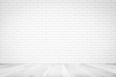 White Brick Wall Texture with wood floor , Empty Abstract Background for Presentations and Web Design. A Lot of Space royalty free stock photos