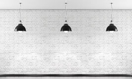 White brick wall and three black ceiling lamp. 3d. Stock Photos
