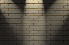 White brick wall with three light Stock Image