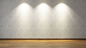 White brick wall with three spot lights. Brick wall under three spot lights for your design Stock Photography