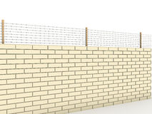 White brick wall topped with barbed wire  №1 Royalty Free Stock Image