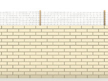 White brick wall topped with barbed wire  №2 Royalty Free Stock Photography