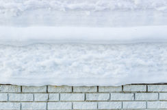 White brick wall under snow in winter. Background Royalty Free Stock Photos