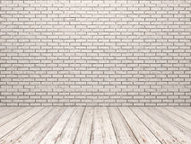 White brick wall and white wood floor. In empty room Royalty Free Stock Photography