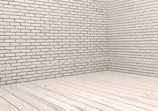 White brick wall and white wood floor. In empty room Stock Images
