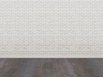 White brick wall and wood floor in a empty room. 3d render Royalty Free Stock Photography