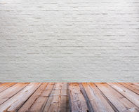 White brick wall with wooden Stock Photos