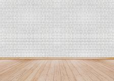 White brick wall with Wooden floor stock photo