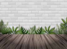 White brick wall and wooden floor. Illustration Royalty Free Stock Images