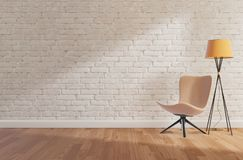 White brick wall and wooden floor,mock up, copy space,3d rendering stock illustration