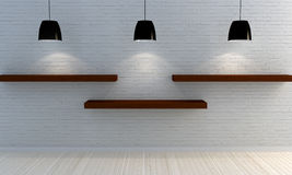 White brick wall with wooden shelves royalty free stock images