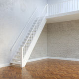 White Bricks Interior Walls With Stairs To Second Floor Royalty Free Stock Photo