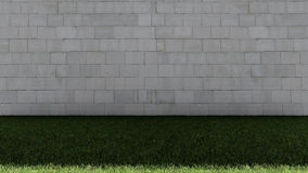 White Bricks Wall and Green Grass Floor Royalty Free Stock Images