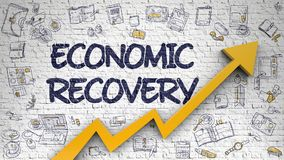 Economic Recovery Drawn on White Brick Wall. White Brickwall with Economic Recovery Inscription and Orange Arrow. Development Concept. Economic Recovery Royalty Free Stock Images