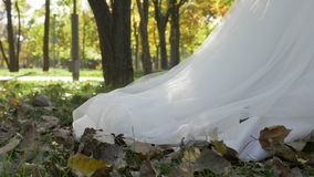 White bridal dress train passing over autumn leaves in park on a sunny day in slow motion -. White bridal dress train passing over autumn leaves in park on a stock footage