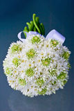 White Bridal Flower Wedding Bouquet and Ribbon Royalty Free Stock Photo