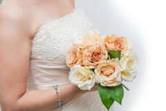 White bridal with roses bouquet. A white bridal with roses bouquet royalty free stock photography