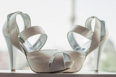White Bridal Shoes Royalty Free Stock Images