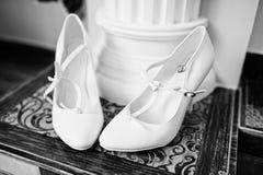 White bridal shoes Stock Photo