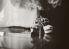 White bridal shoes Stock Photography