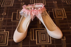 White bridal woman shoes Royalty Free Stock Photography