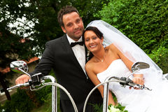 Bride groom on Harley bike Stock Image
