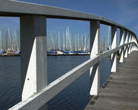 White bridge. In front of a yacht harbour in north germany Royalty Free Stock Photography