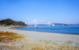 White Bridge of Awaji Shima royalty free stock image