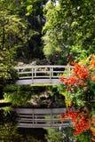White Bridge In Azalea Garden stock photos