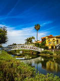 White Bridge and Beautiful Homes Along The Venice Canals. Venice, Los Angeles stock photos