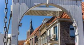 White bridge and church tower of Hasselt Stock Photography