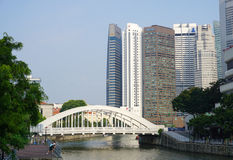White bridge near Marina Bays in Singapore Stock Images