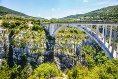 The white bridge over tributary of Artuby Stock Photography