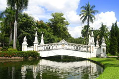 A white bridge in park Royalty Free Stock Image