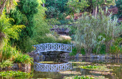 White bridge and pond Royalty Free Stock Photos