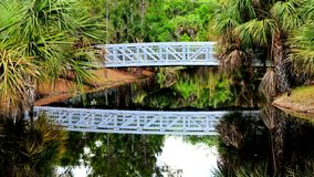White bridge and reflection in water Royalty Free Stock Image