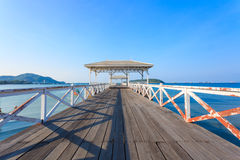 White Bridge. At Si Chang Island with blue sky Stock Photos