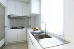 White and bright Kitchen interior modern house.  Royalty Free Stock Image