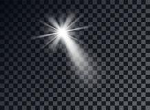 White bright light, glare. Decorative element overlay glitter, explosion, star. Vector design decoration of new year, Christmas. stock illustration