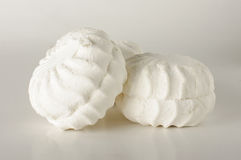 White bright marshmallow  on the black background Royalty Free Stock Images