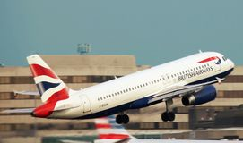 White British Airways Taking Off the Runway Stock Photography