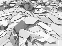 White broken cracked surface destruction ground. 3d render ilustration vector illustration