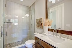 White and brown bathroom interior. Modern bathroom features a bathroom vanity fitted with a rectangular sink under a large framed mirror and glass walk-in shower Stock Photo