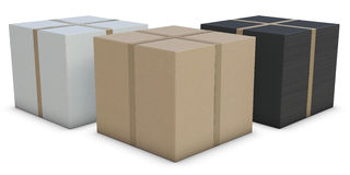 White, brown and black cardboard boxes Stock Images