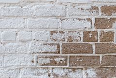 White brown brick wall, paint, cracks, background, old, texture. White brown brick wall, paint cracks background. old texture graphics roughness shabby, vintage Royalty Free Stock Photos